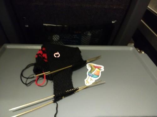 Hearts socks on train
