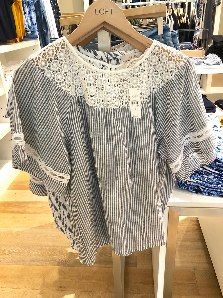 LOFT Lacy Striped Top