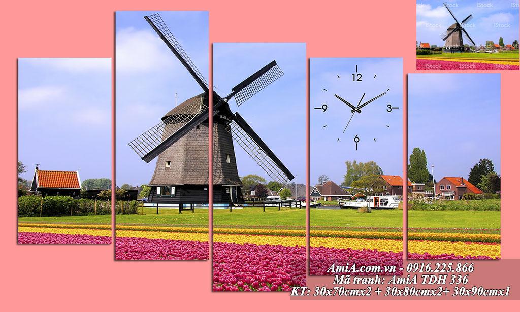 Tranh phong cảnh đẹp nổi tiếng vườn hoa tulip cối xay gió Hà Lan