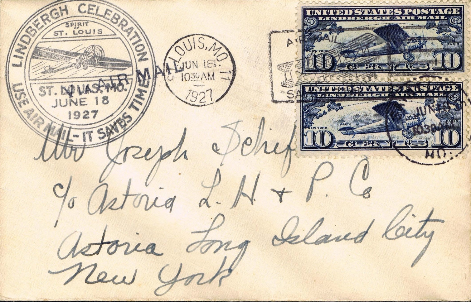 United States - Scott #C10 (1927) first day cover, postmarked St. Louis, MO.