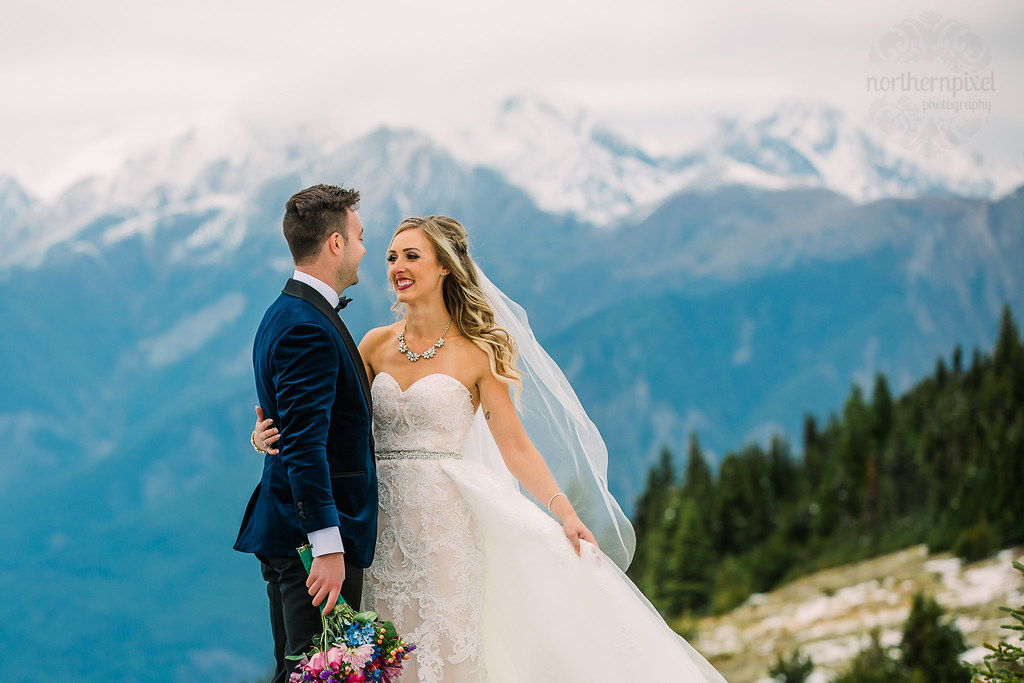 Helicopter Mountaintop Wedding Berg Lake British Columbia