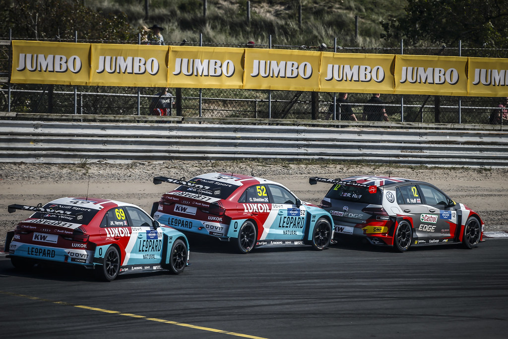 69 VERNAY Jean-Karl, (fra), Audi RS3 LMS TCR team Audi Sport Leopard Lukoil, action 52 SHEDDEN Gordon, (gbr), Audi RS3 LMS TCR team Audi Sport Leopard Lukoil, action 12 HUFF Rob, (gbr), Volkswagen Golf GTI TCR team Sebastien Loeb Racing, action during the 2018 FIA WTCR World Touring Car cup of Zandvoort, Netherlands from May 19 to 21 - Photo Francois Flamand / DPPI
