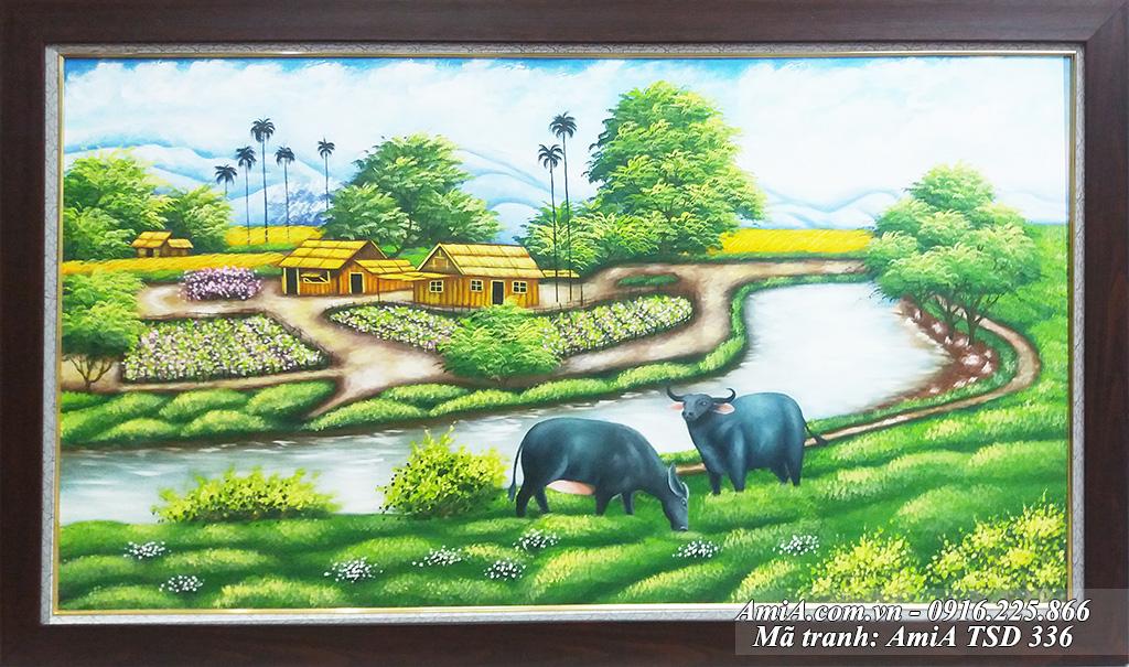 Tranh vẽ cảnh làng quê em với trâu gặm cỏ