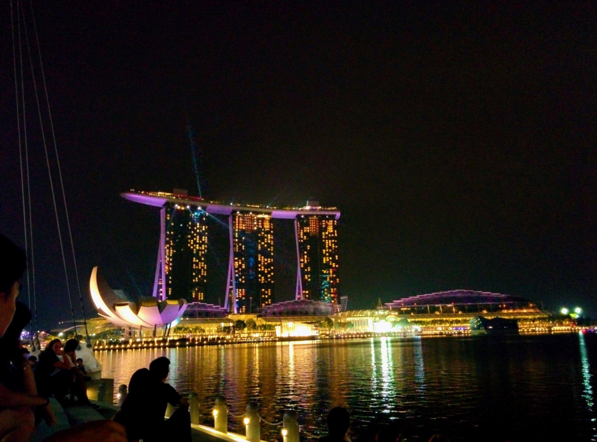 A laser light show across the marina
