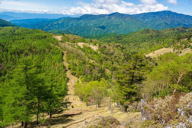 急斜面を登ってくる登山者@笠取山の西側の肩