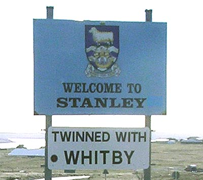 Welcome sign at Stanley, Falkland Islands.