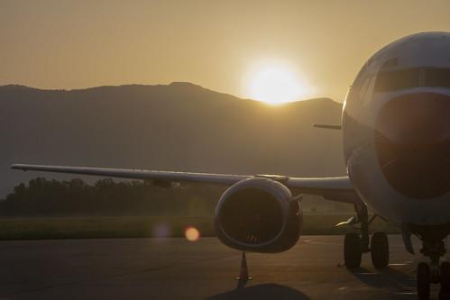 albania tirana dajt mountain sunrise sunshine morning airport sun ray