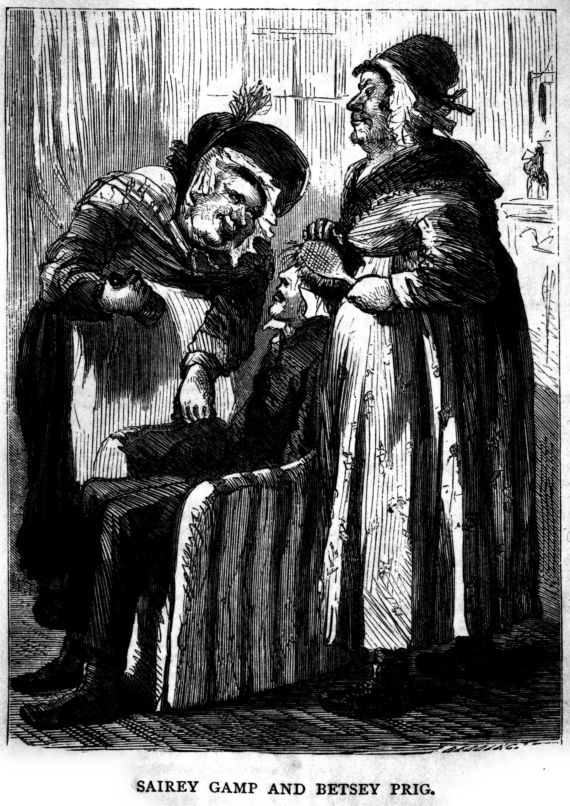 Illustration in Charles Dickens' Martin Chuzzlewit. Nurse Sarah Gamp (left) became a stereotype of untrained and incompetent nurses of the early Victorian era, before the reforms of Nightingale. From page 269 in the 1867 U.S. edition of The Life and Adventures of Martin Chuzzlewit, by Charles Dickens, with original illustrations by S. Eytinge, Jr. Boston: Ticknor and Fields, 1867.