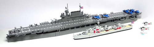 LEGO Task Force. USS Enterprise CV-6 and Porter-class Destroyer under attack