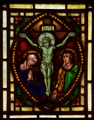 Christ (15th Century) set in Blessed Virgin and St John (19th Century) scene