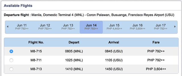 Manila to Coron SkyJet Airlines June 14, 2018 One-way