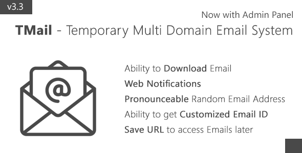 TMail v3.3 – Multi Domain Temporary Email System