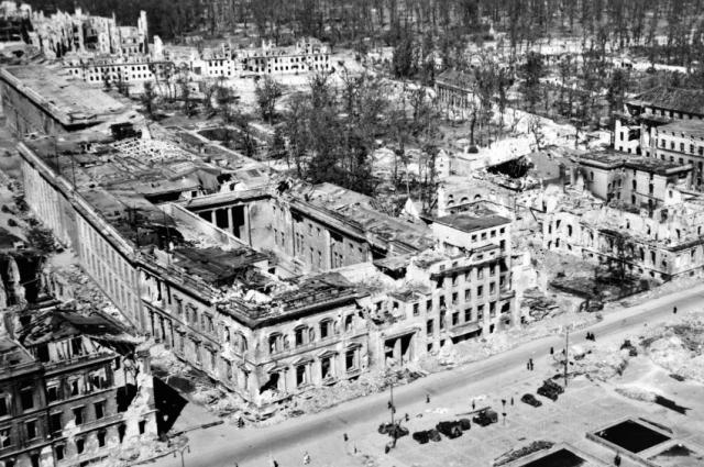 Ruins of the Reich Chancellery in Berlin, circa May 1945.