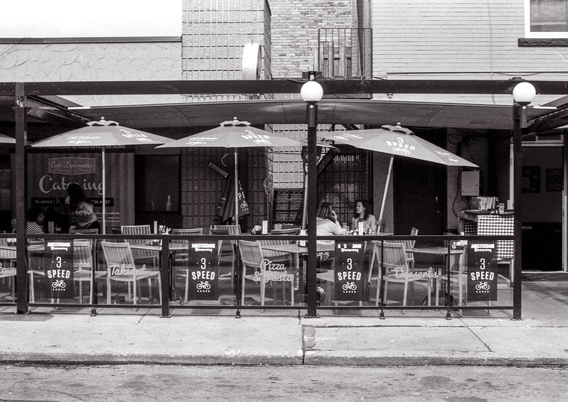 Three Umbrellas on Cafe Diplimatico Patio