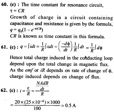 NEET AIPMT Physics Chapter Wise Solutions - Electromagnetic Induction and Alternating Current explanation 60,61,62
