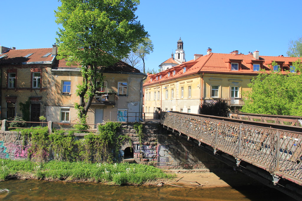 One of the bridges that leads across the river Vilnia to the Republic of Uzupis