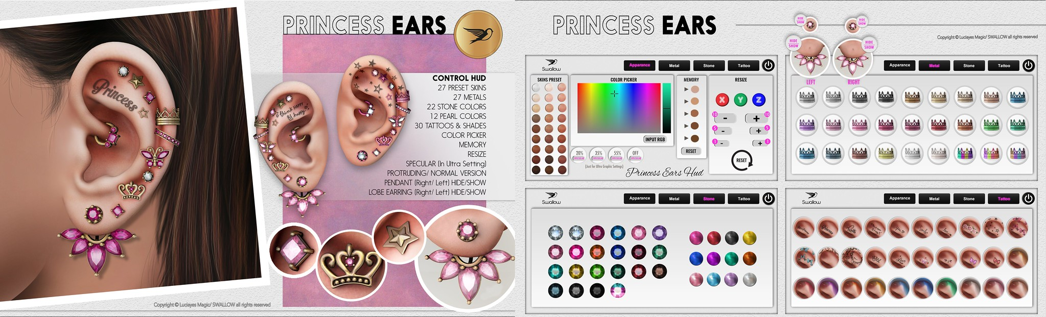 ^^Swallow^^ Princess Ears (@Kustom9 May 15th/June 10th)