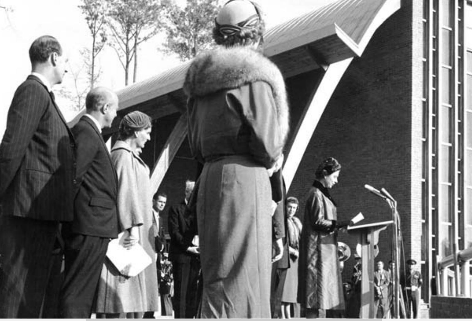 Her Majesty Queen Elizabeth II addressed an estimated 25,000 at Jamestown Festival Park on October 16, 1957.