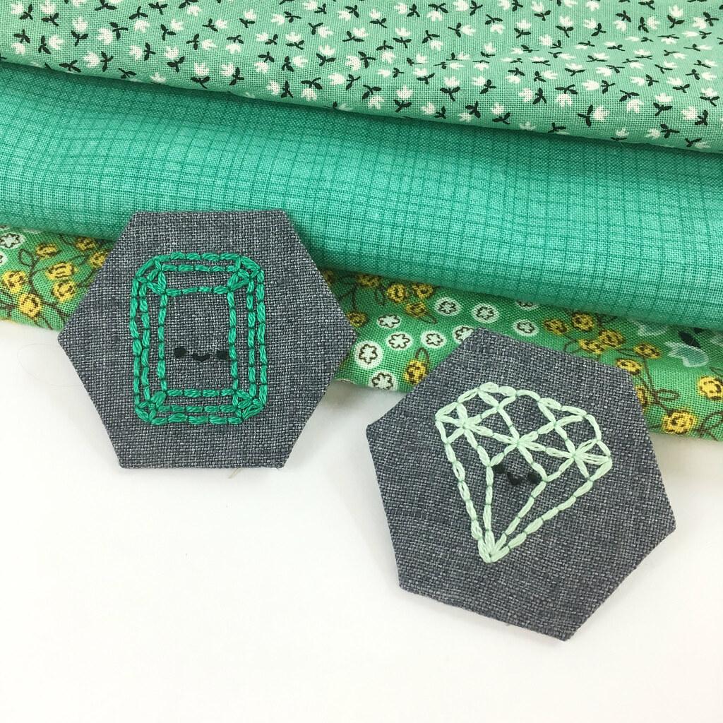 May Emerald Birthstone Embroidery Pattern