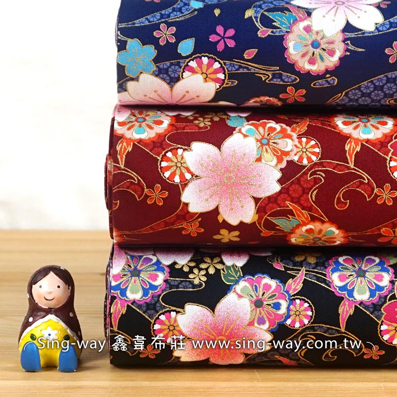 燙金梅花 日式和風 結慶佈置 和服布料 燙金花紋 手工藝DIy拼布布料 CA450738
