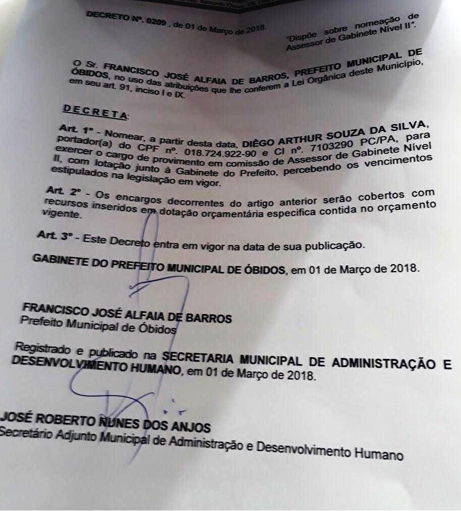 Sobrino de vereador ganha cargo na PMO- Óbidos