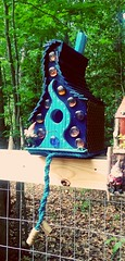 Whimsical bird house with gnome joins the row...more to come !