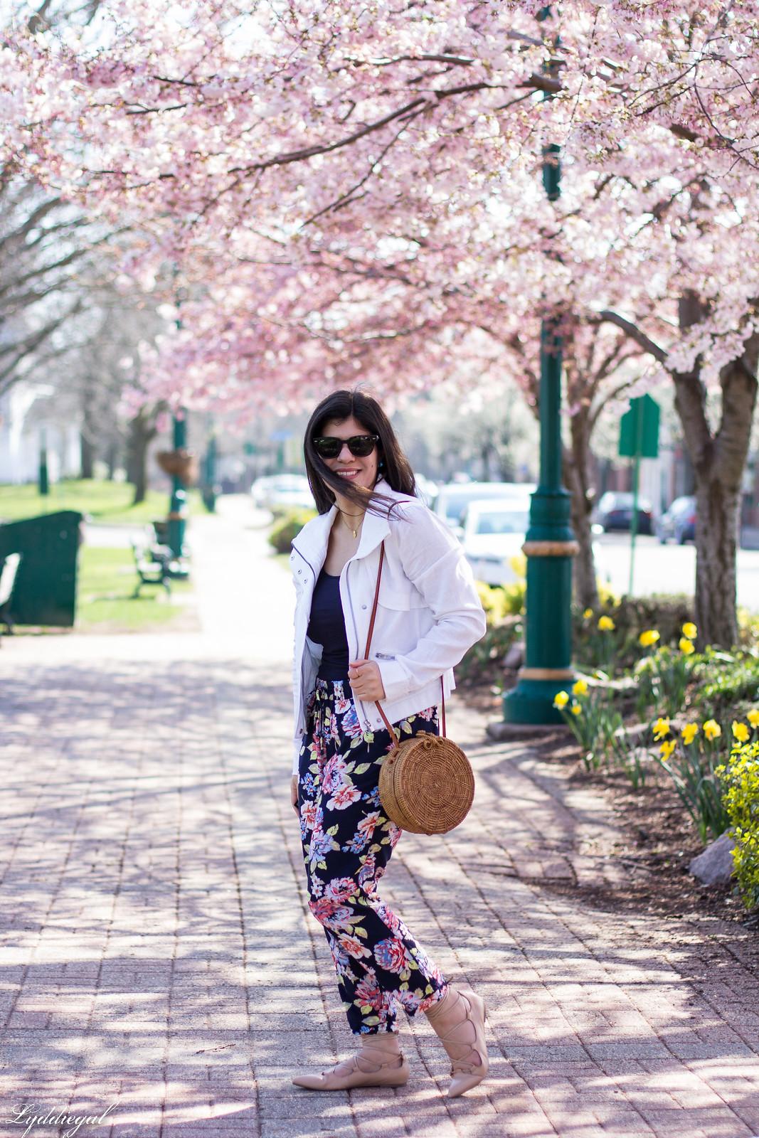 floral joggers, white linen jacket, round rattan bag-5.jpg