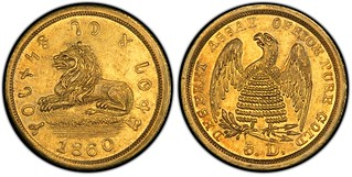 $5 Mormon Gold Lion Obverse