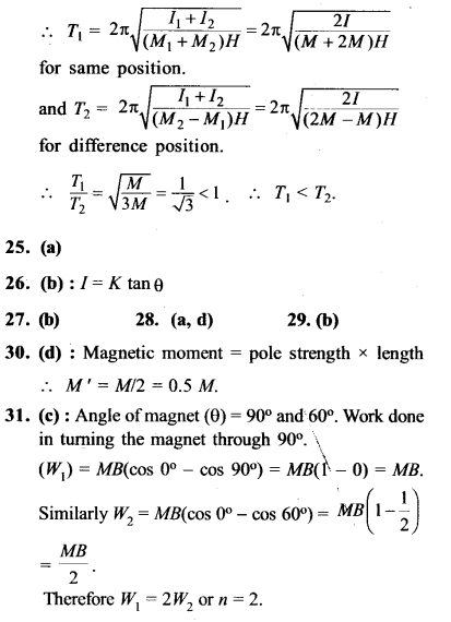 NEET AIPMT Physics Chapter Wise Solutions - Magnetism and Matter explanation 24.1,25,26,27,28,29,30,31