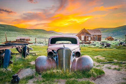 Bodie Ghost Town Vintage Rusting Ghost Car Epic Fine Art Breaking Storm Clouds Sunset! High Sierras California Gold Rush Ghost Town! Bodie State Park!  Sony A7 R & Carl Zeiss Sony Vario-Tessar T* FE 16-35mm f/4 ZA OSS Lens SEL1635Z! HDR Goldrush!