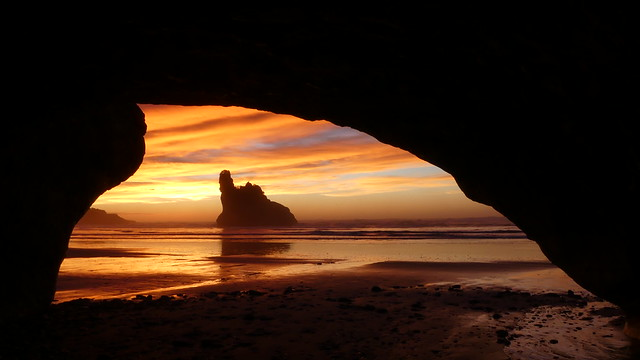 Sunset from a Sea Cave