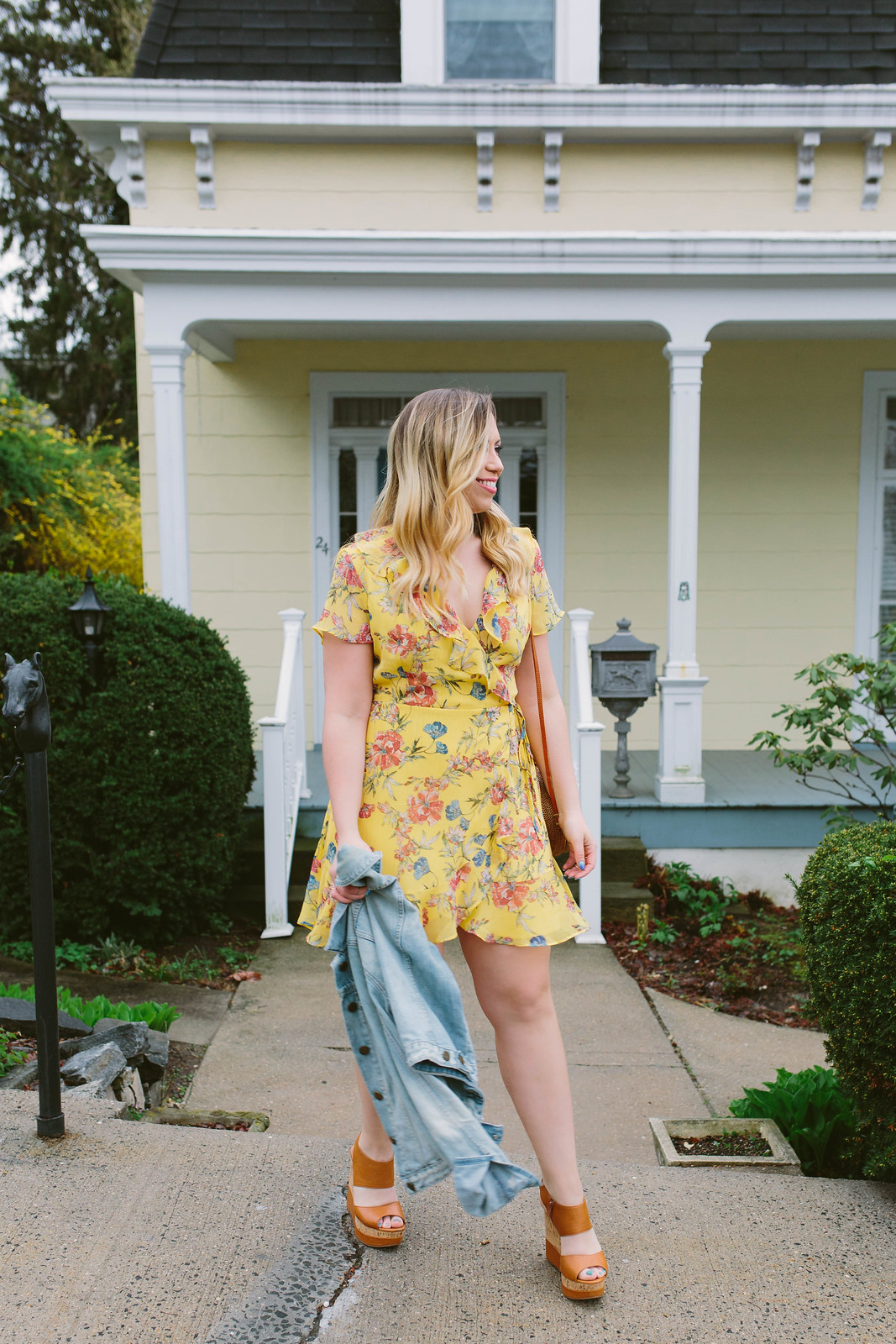 Nordstrom Lush Yellow Ruffle Wrap Dress Blonde Hair Gap Jean Jacket Tan Wedges Sandals Spring Summer Outfit Inspiration Jackie Giardina Living After Midnite