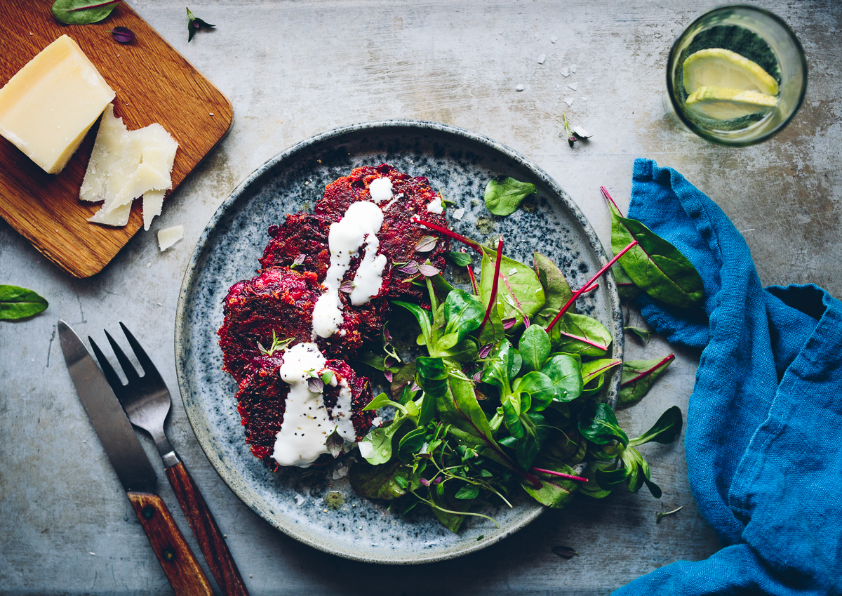 Beetroot Patties with Yoghurt Drizzle & Greens | Cashew Kitchen