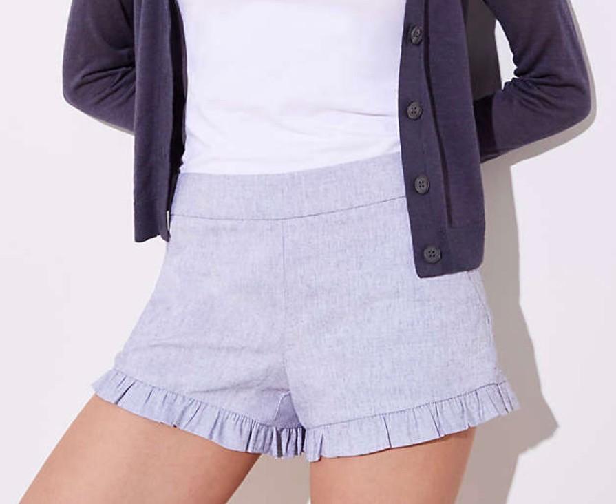 LOFT Crosshatch Ruffle Shorts