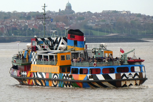 Liverpool - colourful ferry across the Mersey