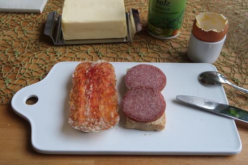 Salami Ungherese und Salami Milano auf Toast