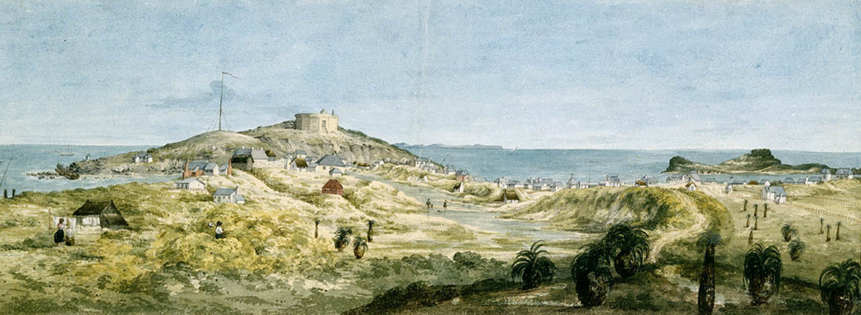 Panorama of the Swan River settlement (Garden Island), 1831, by Jane Eliza Currie.