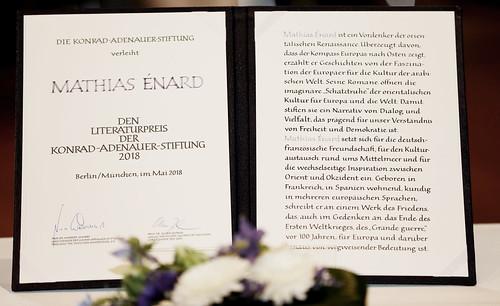 Verleihung des Literaturpreises der Konrad-Adenauer-Stiftung An Mathias Énard