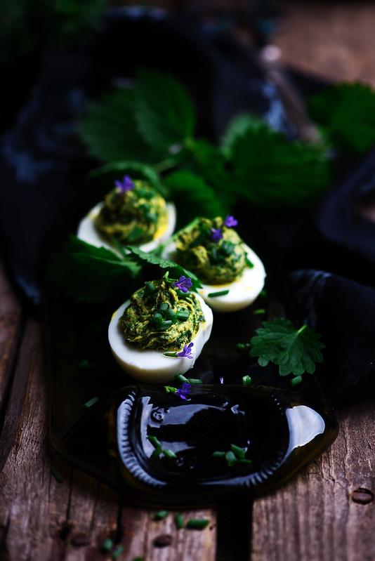 nettled eggs spring devils.style rustic.