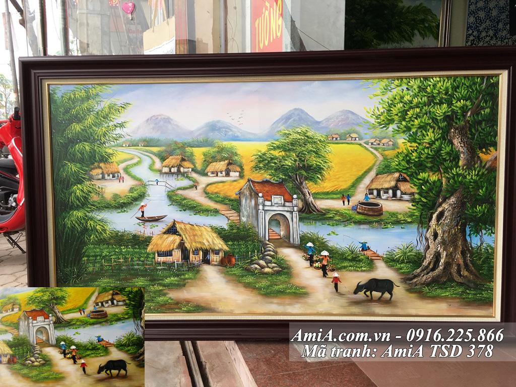 Tranh sơn dầu vẽ cuộc sống nông thôn quê em đơn giản