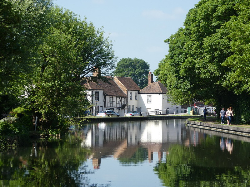 Picturesque old cottages overlooking the Kennet and Avon canal
