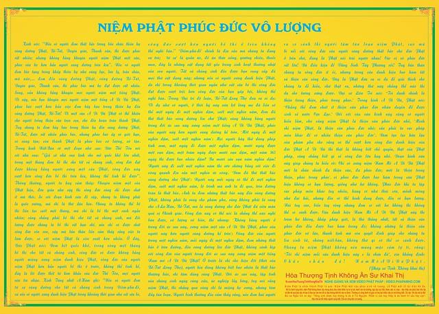Niệm Phật Phúc Đức Vô Lượng 30000 px x 21429 px chữ xanh khung góc hoa văn JPG 254cmx181.43cm cho web