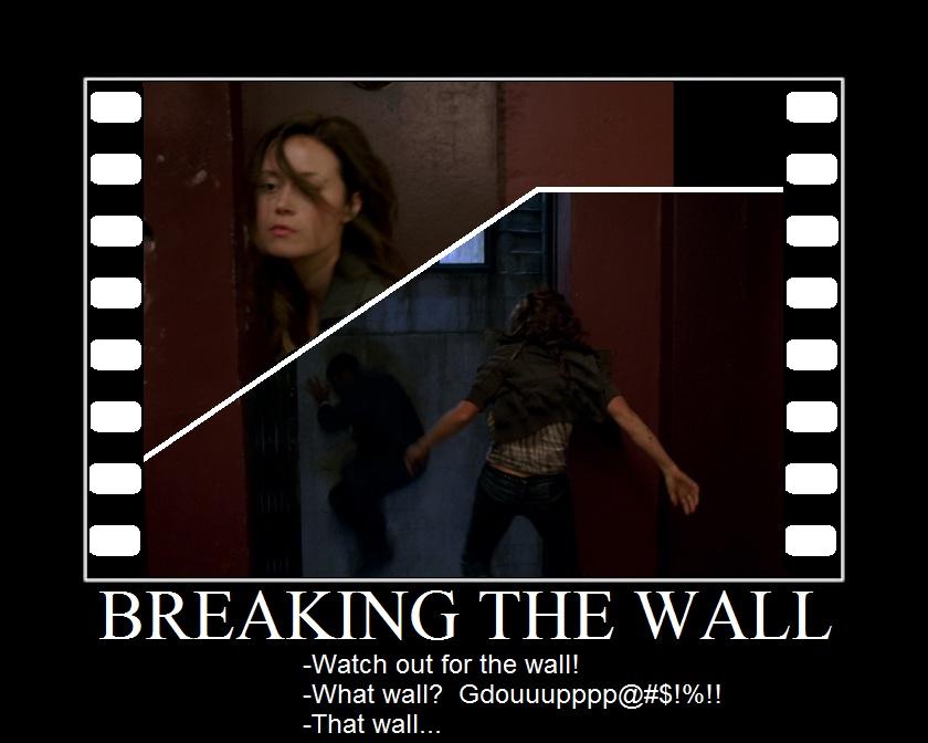 Summer Glau TSCC Cameron breaking wall against watch out
