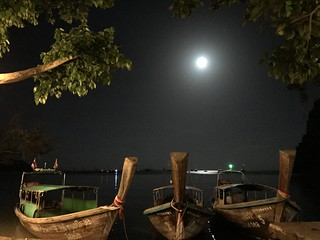 Long Tail Boats at Night - Krabi Thailand