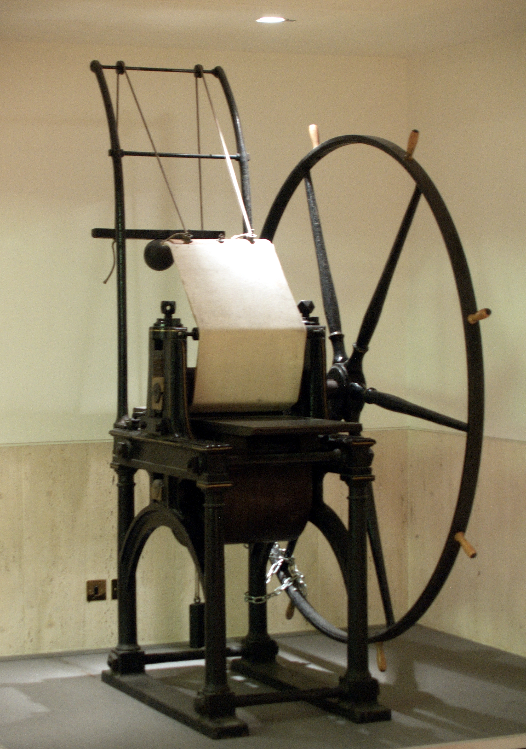 The Jacob Perkins' D cylinder printing press, which printed the Penny Black and the 2-pence Blue, in the British Library Philatelic Collections. Photo taken on September 28, 2009.