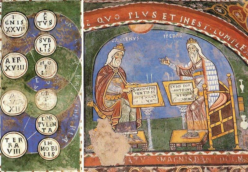 008-диаграмма элеметов по Платону, беседа Галена и Гиппократа