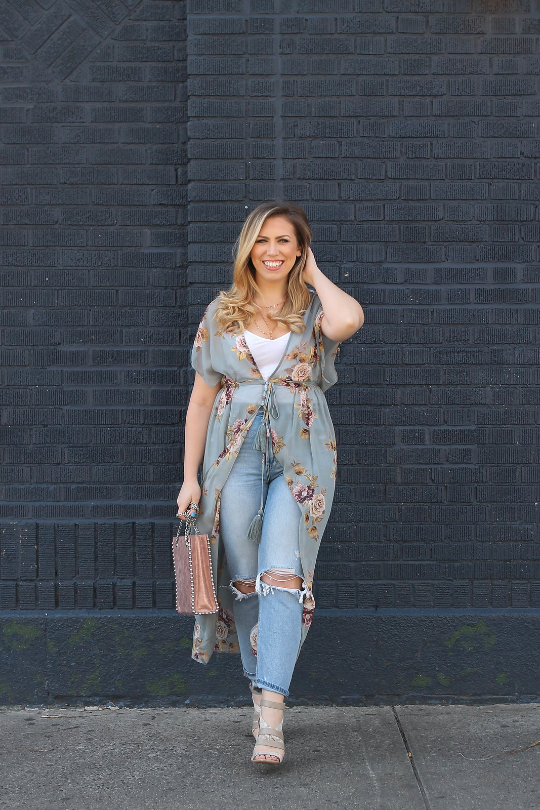 Floral Duster Sheer Kimono Outfit Mom Jeans Rose Gold Studded Zara Bag Spring Feminine Outfit Jackie Giardina