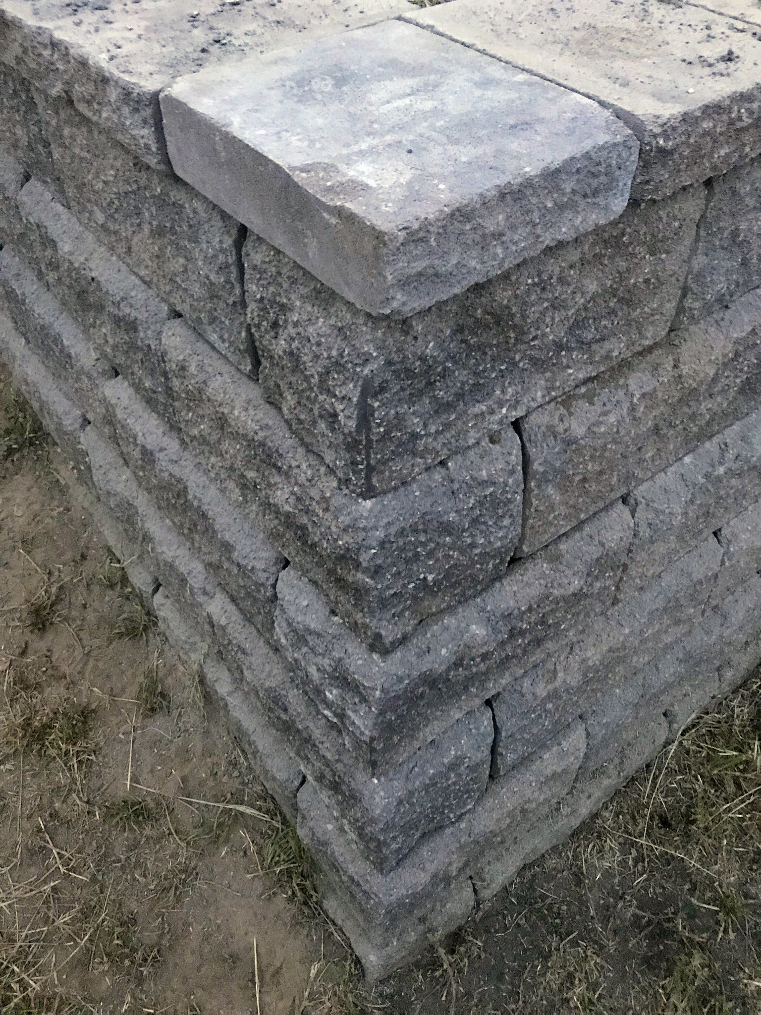 Corner cap stone in place