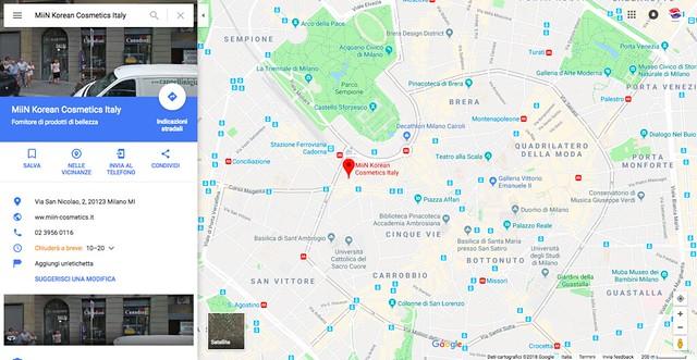 MiiN Korean Cosmetics Italy Google Maps