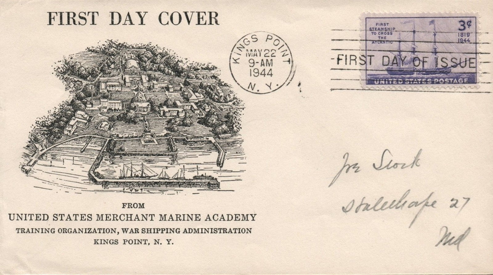 United States - Scott #923 (1944) - first day cover Kings Point, New York